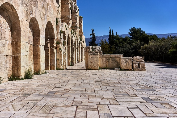Outside the Odeon of Herodes Atticus
