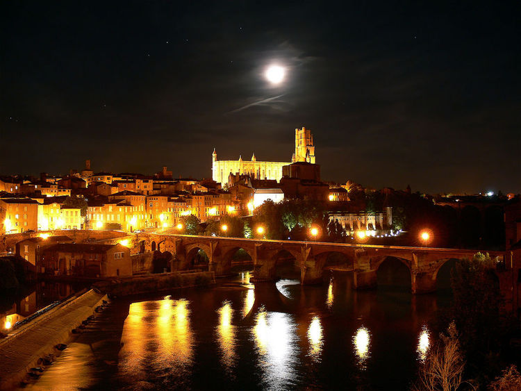 The town of Albi by night, Tarn, France - Classified in 2010 by UNESCO, as world heritage. (image)