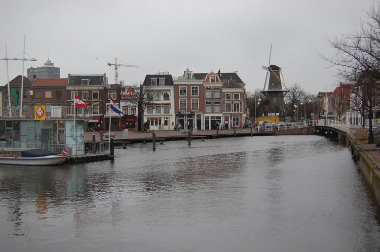 windmill in distance in Leiden, the Netherlands (image)